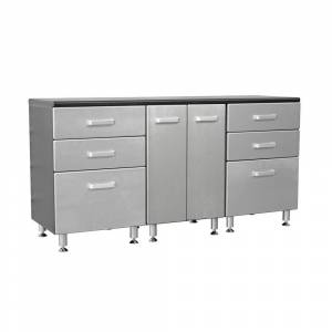 Tuff Stor Metallic Series 36 in h x 71 in. W x 21 in. D Work Bench with 6-Sturdy Drawers and 2-Door Storage Cabinet, Black with Silver Metallic Fronts