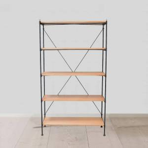AndMakers Hudson 40 in. Oak and Gray Wood 5-Shelf Industrial Standard Bookcase, Brown