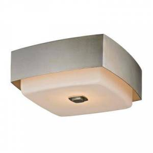 Troy Lighting Allure 2-Light Silver Leaf Square Flush Mount with Opal White Glass Shade
