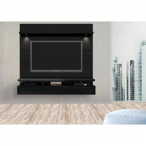 Manhattan Comfort Cabrini 86 in. Black Gloss and Black Matte Entertainment Center with 3 Drawer Fits TVs Up to 70 in. with Wall Panel