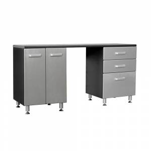 Tuff Stor Metallic Series 36 in. H x 71 in. W x 21 in. D Work Bench with 3-Sturdy Drawers and 2-Door Storage Cabinet, Black with Silver Metallic Fronts