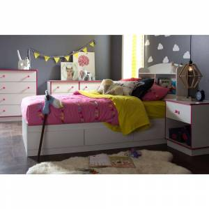 South Shore Logik 6-Drawer Pure White and Pink Dresser