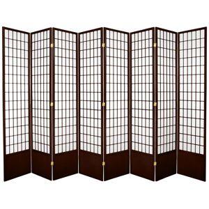 Oriental Furniture 7 ft. Walnut 8-Panel Room Divider, Brown