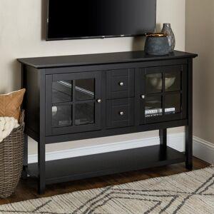 "Walker Edison Furniture Company 52"" Transitional Wood Glass TV Stand Buffet - Black"