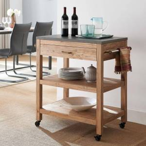 Southern Enterprises Marina Natural Reclaimed and Gray Cement Rolling Kitchen Island with Storage, Natural reclaimed wood and cement gray finish