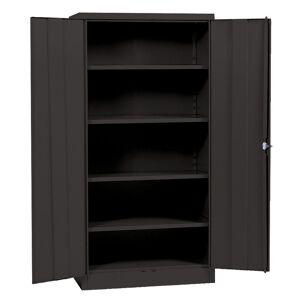 Sandusky 72 in. H x 36 in. W x 18 in. D Steel 5-Shelf Quick Assembly Freestanding Storage Cabinet in Black