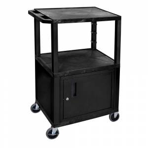 Luxor 24 in. x 18 in. x 42 in A/V Utility Cart with 3 Shelves and Locking Cabinet in Black