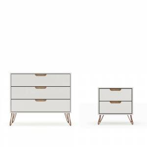 Luxor Intrepid 5-Drawer Off White and Nature Mid-Century Modern Dresser and Nightstand (Set of 2)