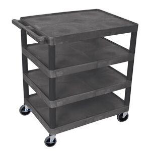 Luxor BC 32 in. 4-Shelf Plastic Utility Cart in black
