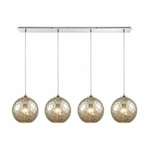 Titan Lighting Watersphere 4-Light Linear Pan in Polished Chrome with Mercury Hammered Glass Pendant