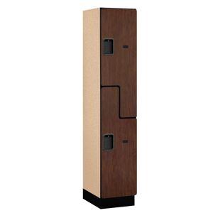 Salsbury Industries 27000 Series 2-Tier 'S-Style' Wood Extra Wide Designer Locker in Mahogany - 15 in. W x 76 in. H x 18 in. D, Brown