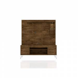Luxor Baxter 63 in. Rustic Brown Composite Entertainment Center Fits TVs Up to 55 in. with Storage Doors