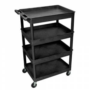 Luxor Heavy Duty 32 in. x 24 in. Utility Cart with 4-Shelves in Black