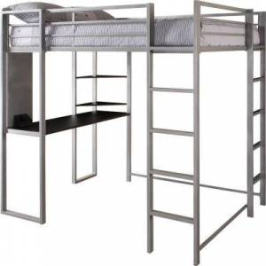 DHP Alana Silver Full Metal Loft Bed with Desk, Silver Finish