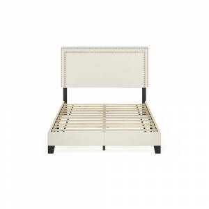 Furinno Laval Linen Full Double Row Nail Head Bed Frame