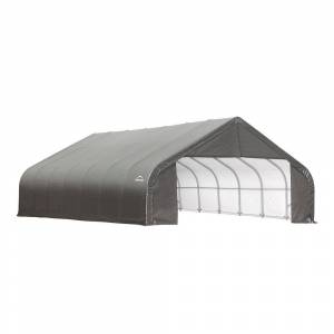 ShelterLogic 28 ft. W x 24 ft. D x 16 ft. H Steel and Polyethylene Garage Without Floor in Grey with Corrosion-Resistant Steel Frame, Grays