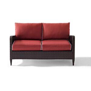 Crosley Kiawah Wicker Outdoor Loveseat with Sangria Cushions