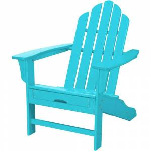 Hanover All-Weather Patio Adirondack Chair with Hide-Away Ottoman in Aruba Blue