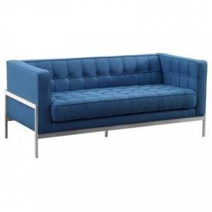 Andre Armen Living Brushed Stainless Steel Contemporary Loveseat and Blue Fabric