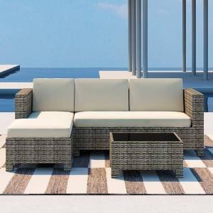 Patio Festival 3-Piece Wicker Outdoor Sectional Set with Beige Cushions