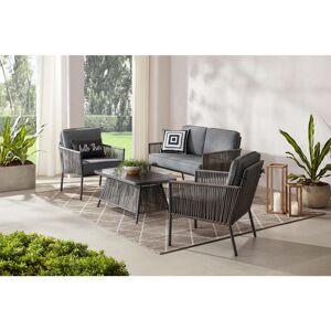 Hampton Bay Tolston 4-Piece Wicker Outdoor Patio Conversation Set with Charcoal Cushions