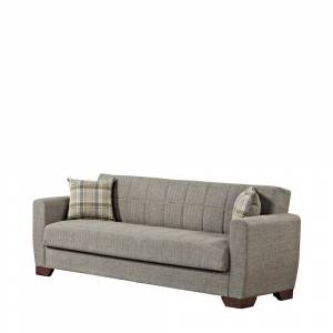 Ottomanson Barato 84 in. Brown Chenille 3-Seater Full Sleeper Convertible Sofa Bed with Storage