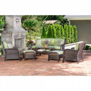 Hanover Strathmere 6-Piece Wicker Patio Conversation Set with Cilantro Green Cushions