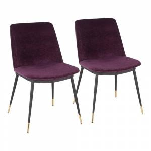 Lumisource Wanda Purple Dining Chair with Gold Accents (Set of 2)