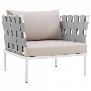 MODWAY Harmony Aluminum Outdoor Patio Lounge Chair in White with Beige Cushions
