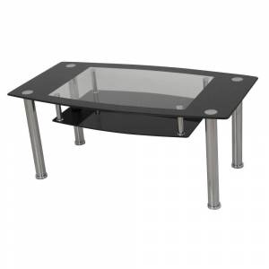 AVF Black and Clear Tempered Glass with Chrome Legs Coffee Table
