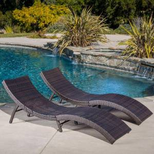 Noble House Acapulco Multi-Brown Wicker Outdoor Chaise Lounges (Set of 2)