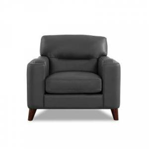 Hydeline Elm Silver Gray 100% Leather Chair