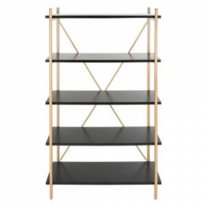 Safavieh 72 in. Black/Gold Metal 5-shelf Etagere Bookcase with Open Back