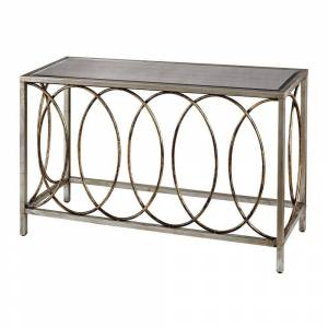 Titan Lighting Rings Bakewell 47 in. Gold/Silver Standard Rectangle Glass Console Table with Mirrored Top, Bakewell Gold/Silver