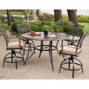 Hanover Traditions 5-Piece Aluminum Round Outdoor High Dining Set with Swivel Chairs with Natural Oat Cushions