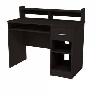 South Shore Axess Solid Black Desk with Hutch, Pure Black