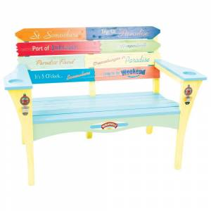 Margaritaville Southern Most Point Wood Bench with Bottle Cap Openers and Cup Holders
