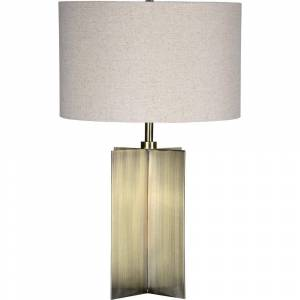 Notre Dame Design Scotia 25 in. Brass Table Lamp with Beige Linen Shade