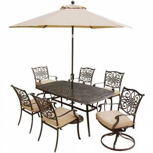 Hanover Traditions 7-Piece Aluminum Outdoor Patio Dining Set and 2 Swivel Chairs, Umbrella and Base with Natural Oat Cushions