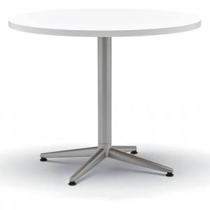ALMO FULFILLMENT White/Silver Round Laminate Top Table with X-Base