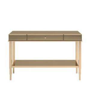 HomeSullivan Champagne Gold Mirrored Metal Sofa Table TV Stand with Drawer