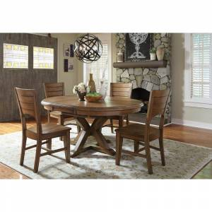 International Concepts Canyon Pecan Wood Dining Chair (Set of 2), Distressed Pecan