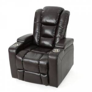 Noble House Emersyn Brown PU Leather Motor-Powered Recliner with Arm Storage and USB Port, Brown/ Black