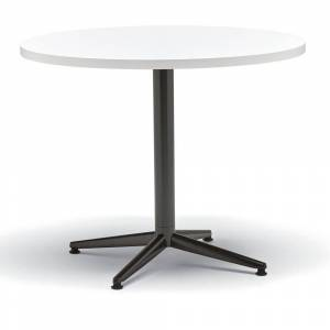 ALMO FULFILLMENT White/Black Round Laminate Top Table with X-Base