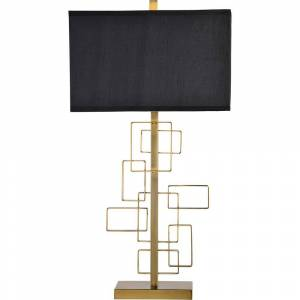 Notre Dame Design Sabrillo 27 in. Brass Table Lamp with Black Silky Shade
