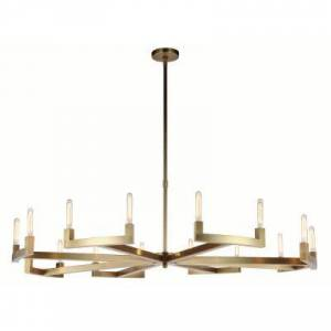 ELEGANT FURNITURE & LIGH Timeless Home 72 in. L x 72 in. W x 11 in. H 16-Light Burnished Brass Contemporary Chandelier