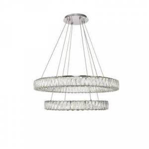 ELEGANT FURNITURE & LIGH Timeless Home 31.5 in. L x 31.5 in. W x 12 in. H 76.5-Watt Integrated LED Chrome Contemporary Chandelier