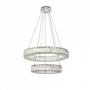 ELEGANT FURNITURE & LIGH Timeless Home 23.6 in. L x 23.6 in. W x 12 in. H 54-Watt Integrated LED Chrome Contemporary Chandelier