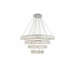 ELEGANT FURNITURE & LIGH Timeless Home 42 in. L x 42 in. W x 24.4 in. H 160-Watt Integrated LED Chrome Contemporary Chandelier