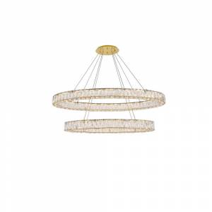 ELEGANT FURNITURE & LIGH Timeless Home 48 in. L x 18.1 in. W x 11.8 in. H 90-Watt Integrated LED Gold Contemporary Chandelier